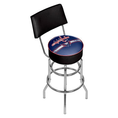 NHL Swivel Bar Stool with Back, Washington Capitals