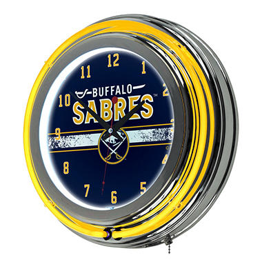 NHL Chrome Double Rung Neon Clock, Buffalo Sabres