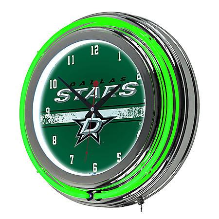NHL Chrome Double Rung Neon Clock, Dallas Stars