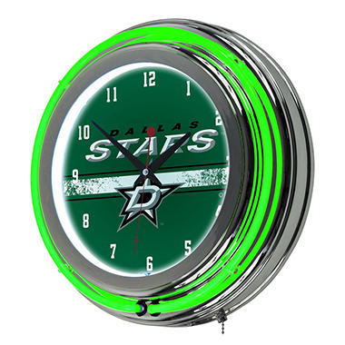 NHL Chrome Double Rung Neon Clock, Dallas Stars