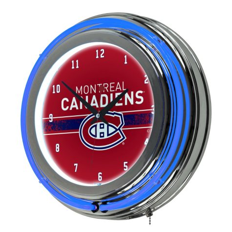 NHL Chrome Double Rung Neon Clock, Montreal Canadiens