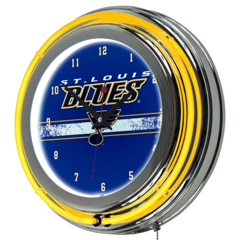NHL Chrome Double Rung Neon Clock, St. Louis Blues
