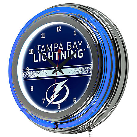 NHL Chrome Double Rung Neon Clock, Tampa Bay Lightning
