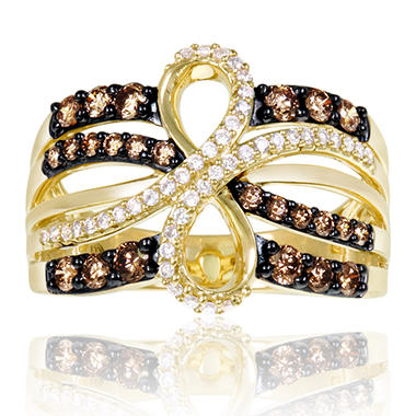 Roberto Ricci Brown and White Diamond Loop Ring in 14K Yellow Gold