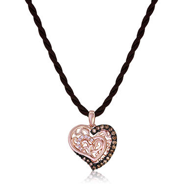 Roberto Ricci Brown and White Diamond Heart Pendant in 14K Rose Gold (Brown & I, I1)