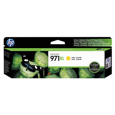 HP 971XL High Yield Original Ink Cartridge, Yellow (6,600 Yield)