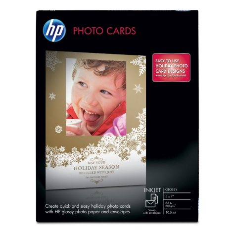 """HP Glossy 5"""" x 7"""" Photo Cards with Envelopes"""