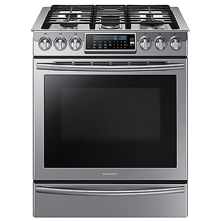 SAMSUNG 5.8 Cu. Ft. Slide-in Gas Range with Dual Convection - Stainless Steel - NX58H9500WS