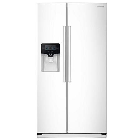 SAMSUNG 24.5 Cu. Ft. Side-by-Side Refrigerator with External Water and Ice Dispenser, White - RS25J500DWW