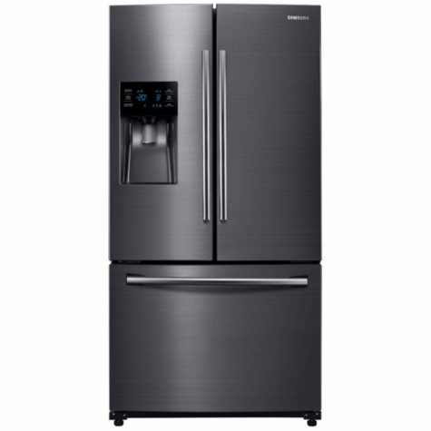 SAMSUNG 25.6 Cu. Ft. 3-Door French Door Refrigerator with External Water and Ice Dispenser, Black Stainless Steel - RF263BEAESG