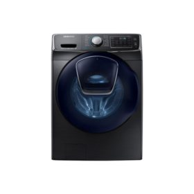SAMSUNG AddWash 4.5 Cu. Ft. Stackable High-Efficiency Front-Load Washer with Steam Cycle, Black Stainless - WF45K6500AV