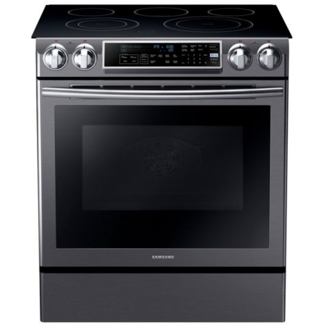 SAMSUNG 5.8 Cu. Ft. Slide-in Electric Range with Dual Convection - Black Stainless Steel - NE58K9500SG
