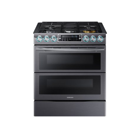 SAMSUNG 5.8 Cu. Ft. Slide-in Gas Flex Duo Range with Dual Door and Wi-Fi, Black Stainless - NX58K9850SG