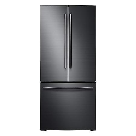 SAMSUNG 22 Cu. Ft. 3-Door French Door Refrigerator, Black Stainless Steel - RF220NCTASG