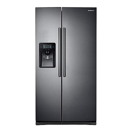 SAMSUNG 24.5 Cu. Ft. Side-by-Side Refrigerator with External Water and Ice Dispenser, Black Stainless Steel - RS25J500DSG