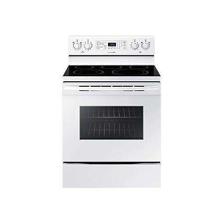 SAMSUNG 5.9 Cu. Ft. Freestanding Electric Range with 5 Element Smooth surface and Self-Cleaning, Stainless Steel - NE59M4320SW