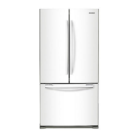 SAMSUNG 17.5 Cu. Ft. Counter-Depth 3-Door French Door Refrigerator, White - RF18HFENBWW
