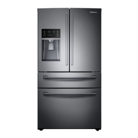 SAMSUNG 28 Cu. Ft. 4-Door French Door Refrigerator with FlexZone Drawer, Black Stainless Steel - RF28HMEDBSG