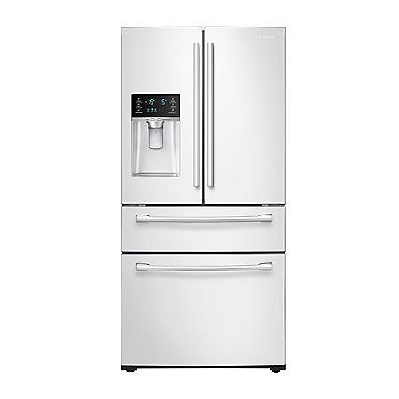 SAMSUNG 28 Cu. Ft. 4-Door French Door Refrigerator with FlexZone Drawer, White - RF28HMEDBWW