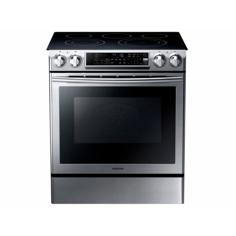 SAMSUNG 5.8 Cu. Ft. Slide-in Electric Range with Dual Convection, Stainless Steel - NE58F9500SS