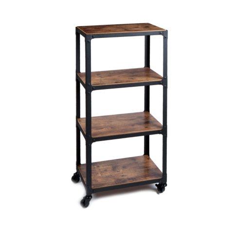 Mind Reader 4-Shelf Wood and Metal Utility Cart