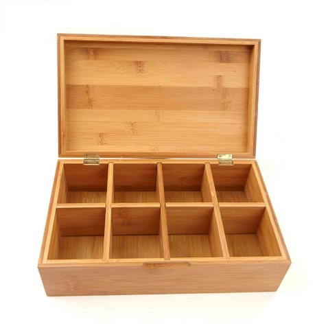 Mind Reader 8-Compartment Bamboo Tea Storage Box