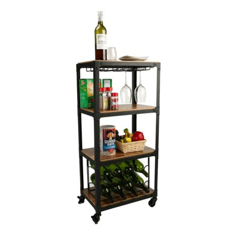 Mind Reader 4-Tier Wood and Metal Wine Cart