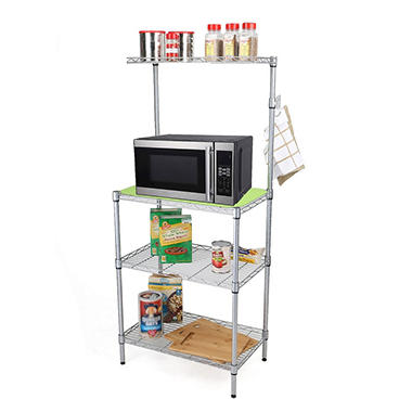 Mind Reader 3-Tier Microwave Shelf Counter Unit with Hooks