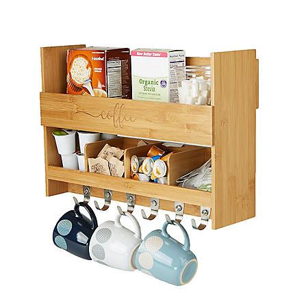 Mind Reader Bamboo Coffee Rack Shelf
