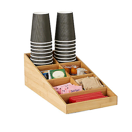 Mind Reader 7-Compartment Bamboo Coffee Accessories and Cup Organizer