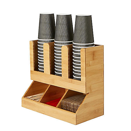 Mind Reader 6-Compartment Bamboo Coffee Accessories and Cup Organizer