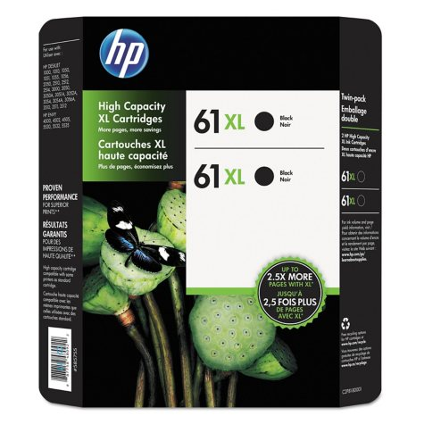 HP 61XL High Yield Original Ink Cartridge, Black (2 pk., 480 Page Yield)