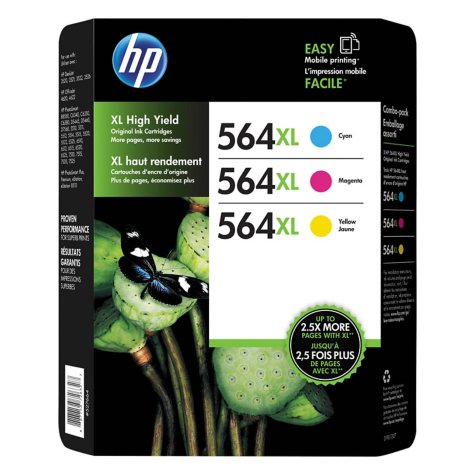 HP 564XL High Yield Original Ink Cartridge, Cyan/Magenta/Yellow, 3 Pack, 750 Page Yield