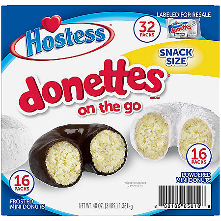 Hostess Mini Powered Donettes and Frosted Chocolate Mini Donettes (1.5oz / 32pk)