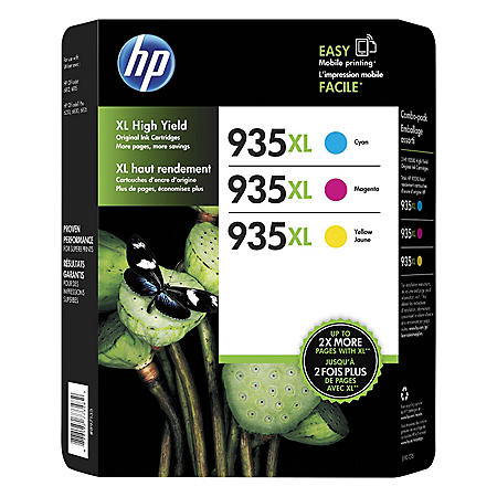 HP 935 XL High-Yield Ink, Cyan/Magenta/Yellow (825 Page-Yield)