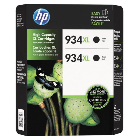 HP 934 XL High Yield Ink, Black, 2 Pack, 1000 Page Yield