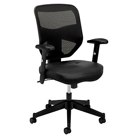 basyx VL531 Series High-Back Padded Mesh Seat Leather Work Chair, Black