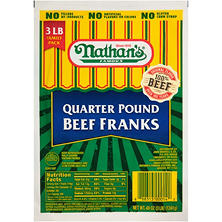 Nathan's Famous Quarter-Pound Beef Franks (12 franks, 3 lbs.)