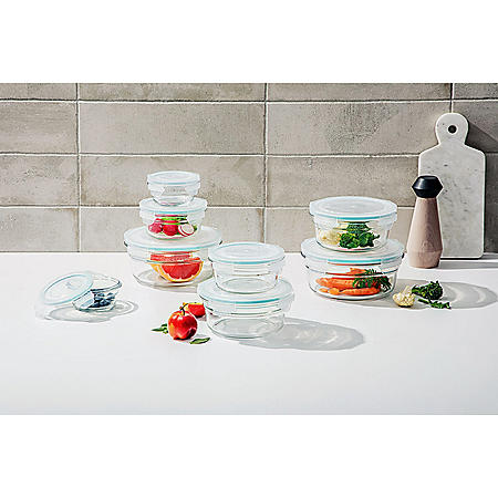 Glasslock 16-Piece Round Shape Glass Food Storage Set