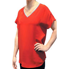 ABS Novelty Trimmed V-Neck Top