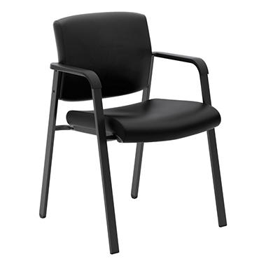 basyx VL605 Leather Guest Chair, Black