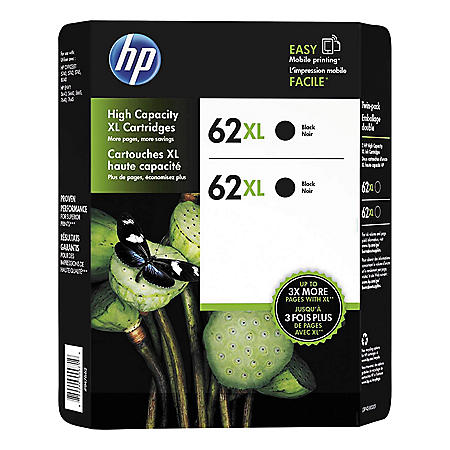 HP 62XL High Yield Original Ink Cartridge, Black, 2 Pack, 600 Page Yield