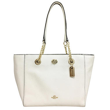 Turnlock Chain Pebble Leather Tote by COACH