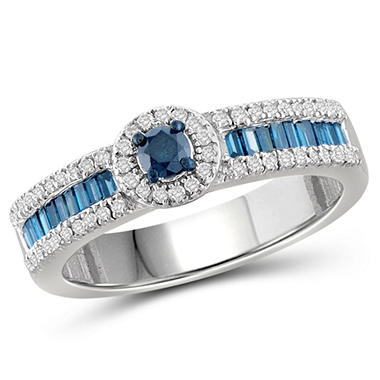 OFFLINE0.50 ct. t.w. Blue and White Diamond Engagement Ring in Sterling Silver