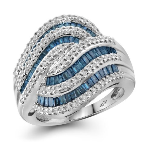1.00 ct. t.w. Blue and White Diamond Swirl Ring in Sterling Silver