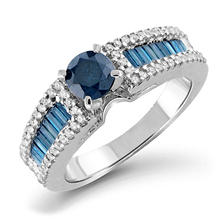 1.25 CT. T.W. Blue and White Diamond Engagement Ring in 14K White Gold