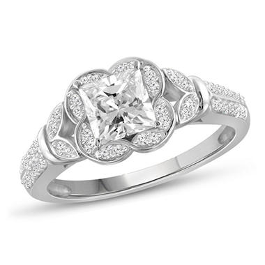 1.20 CT. T.W. Princess and White Diamond Engagement Ring in 14K White Gold