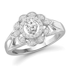 0.60 CT. T.W. White Diamond Engagement Ring in 14K White Gold