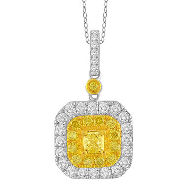 1.00 CT. T.W. Yellow And White Diamond Fashion Pendant in 14K White Gold