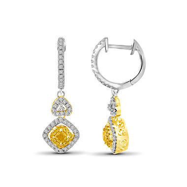 1.00 CT. T.W. Yellow and White Diamond Drop Earrings in 14K Yellow Gold